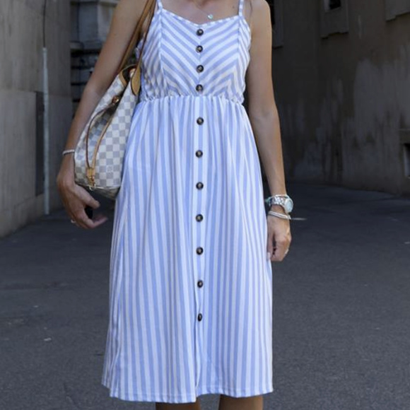 16541186d350 Button down midi summer dress stripe retro vintage